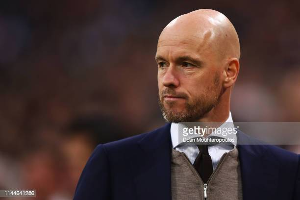 Ajax Head Coach / Manager Erik ten Hag looks on during the Eredivisie match between Ajax and Vitesse at Johan Cruyff Arena on April 23 2019 in...