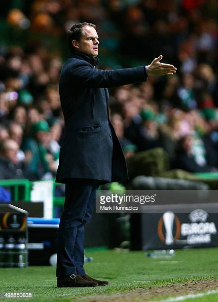 Ajax Manager Frank de Boer gestures from the sideline during the UEFA Europa League Group A match between Celtic FC and AFC Ajax on November 26 2015...