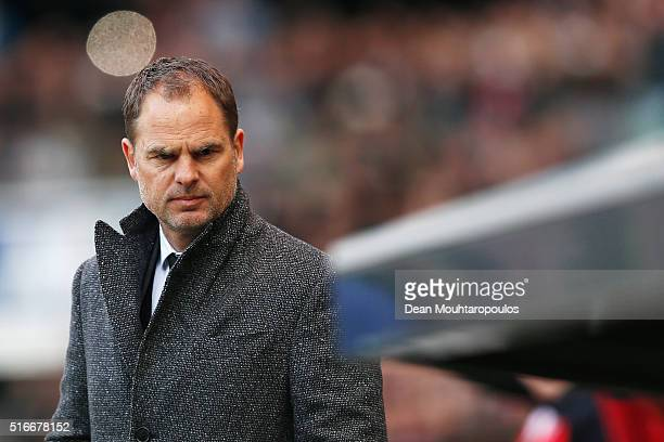 Ajax manager / head coach Frank de Boer looks on prior to the Eredivisie match between PSV Eindhoven and Ajax Amsterdam held at Philips Stadium on...