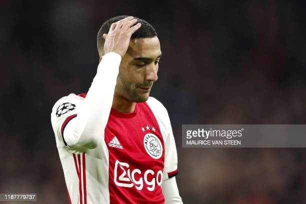 Ajax' Moroccan forward Hakim Ziyech reacts during the UEFA Champions League group H football match between Ajax Amsterdam and Valencia CF at the...