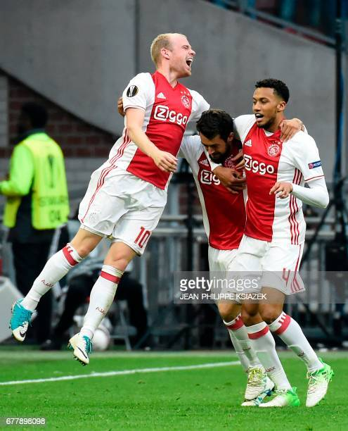 Ajax players celebarte after the third goal during UEFA Europa League semifinal first leg Ajax Amsterdam v Olympique Lyonnais on May 3 2017 in...