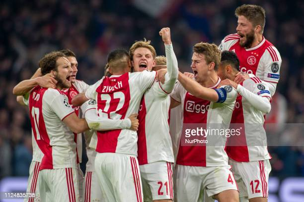 Ajax players celebrate the unsuccessful goal by the referee during the UEFA Champions League Round of 16 match between Ajax Amsterdam and Real Madrid...