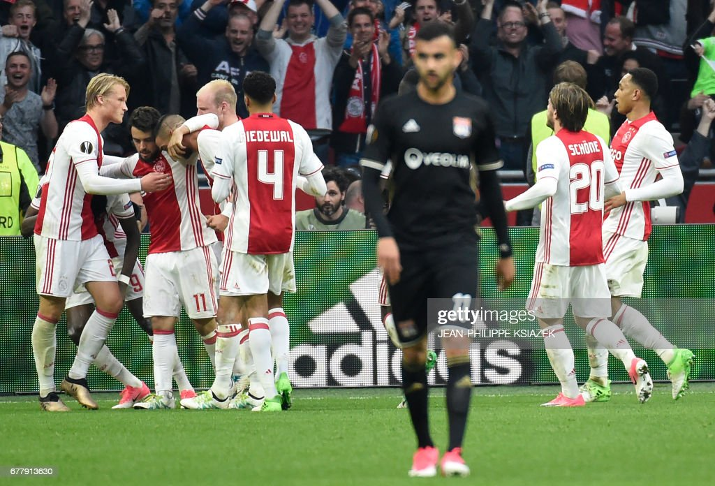 Ajax players celebrates after scoring a goal during UEFA Europa League semi-final, first leg, Ajax Amsterdam v Olympique Lyonnais (OL) on May 3, 2017 in Amsterdam. /