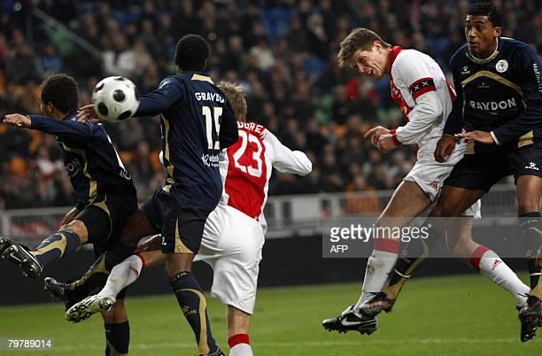 Ajax striker Klaas Jan Huntelaar scores during the premier leaguematch against Sparta on February 15 2008 in the Amsterdam ArenA AFP PHOTO MARCEL...