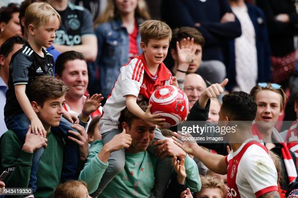Ajax supporters Justin Kluivert of Ajax during the Dutch Eredivisie match between Ajax v Heracles Almelo at the Johan Cruijff Arena on April 8 2018...