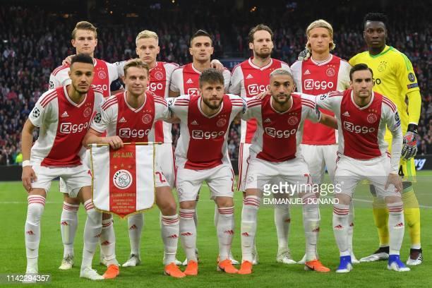 Ajax team Ajax's Moroccan midfielder Hakim Ziyech Ajax's Dutch midfielder Frenkie de Jong Ajax's Danish midfielder Lasse Schone Ajax's Moroccan...