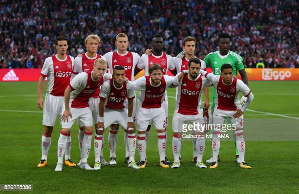 Ajax team group photo during the UEFA Champions League Qualifying Third Round match between Ajax and OSC Nice at Amsterdam Arena on August 2 2017 in...