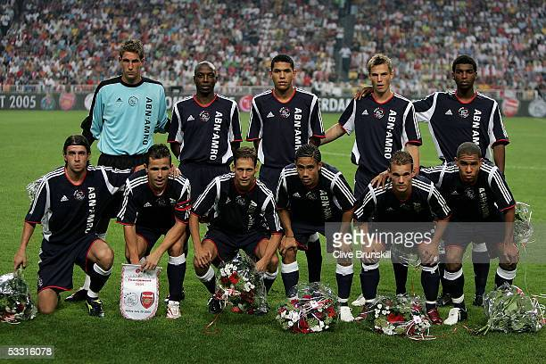 Ajax team line up prior to the LG Amsterdam Tournament friendly match between Ajax and Arsenal at The Amsterdam Arena on July 29 2005 in Amsterdam...