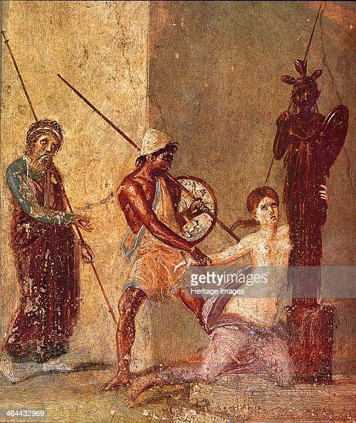 Ajax the Lesser drags Cassandra away from the Xoanon, 1st H. 1st cen. AD. Found in the collection of the Museo Archeologico Nazionale di Napoli.