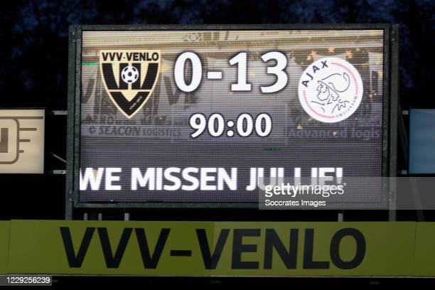Ajax wins 0-13 against VVV Venlo, scoreboard during the Dutch Eredivisie match between VVVvVenlo - Ajax at the Seacon Stadium - De Koel on October...