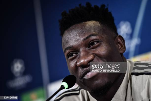 Ajax's Cameroonian goalkeeper Andre Onana attends a press conference on April 15 2019 at the Juventus stadium in Torino on the eve of their UEFA...