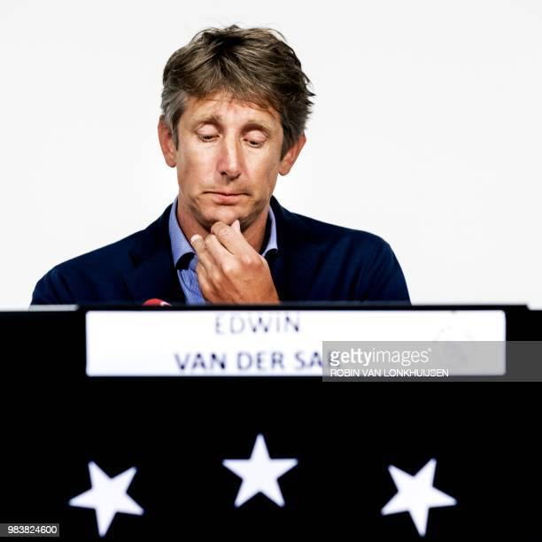 Ajaxs CEO Edwin Van der Sar gives a press conference about Abdelhak Nouri in Amsterdam The Netherlands on June 25 2018 Van der Sar announces mistakes...