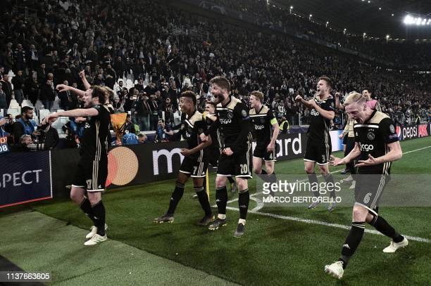 Ajax's Dutch defender Daley Blind Ajax's Brazilian forward David Neres Ajax's Danish midfielder Lasse Schone Ajax's Dutch defender Matthijs de Ligt...
