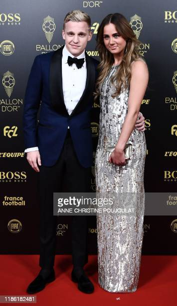Ajax's Dutch midfielder Donny Van de Beek arrives to attend the Ballon d'Or France Football 2019 ceremony at the Chatelet Theatre in Paris on...