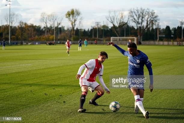 Ajax's Filip Frei and Chelsea's Thierno Ballo in action Chelsea v Ajax UEFA Youth Champions League Group H Cobham Training Ground