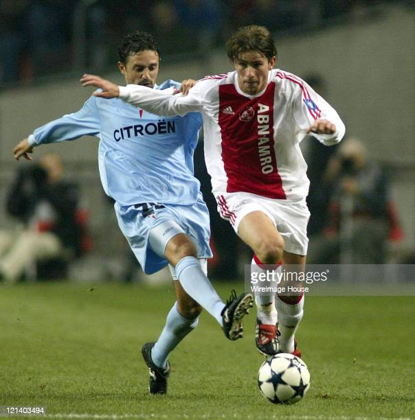 Ajax's Maxwell and Celta Vigo's Jesuli in action during Soccer UEFA Champions League Group H Ajax vs Celta Vigo October 22 2003 at Amsterdam Arena in...