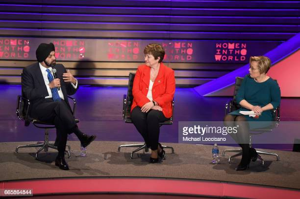Ajay Banga Kristalina Georgieva and Gillan Tett attend the Eighth Annual Women In The World Summit at Lincoln Center for the Performing Arts on April...