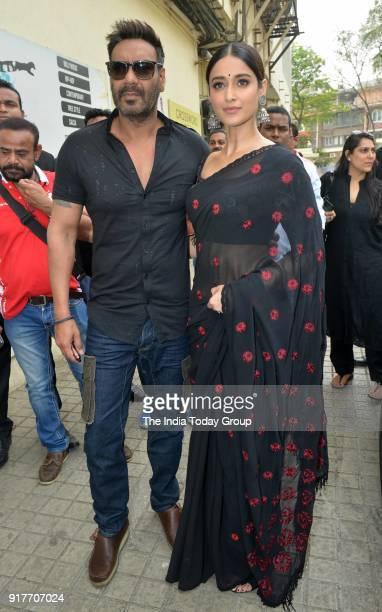 Ajay Devgan and Ileana D'Cruz during the trailer launch of the film Raid in Mumbai