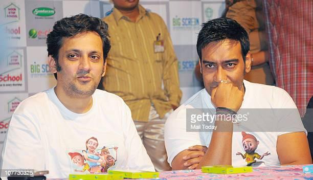 Ajay Devgan and Kireet Khurana at an event to promote his latest film Toonpur Ka Superhero in Mumbai
