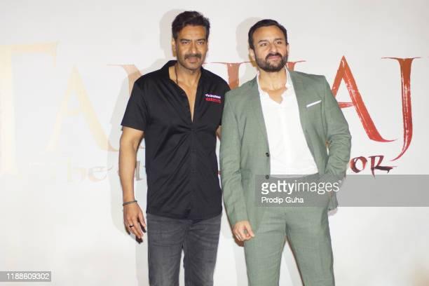 "Ajay Devgan and Saif Ali Khan attend the trailer launch of ""Tanhaji The Unsung Warrior"" on November 19, 2019 in Mumbai, India."