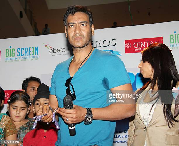 Ajay Devgan at a promotional event of his upcoming film Toonpur Ka Superhero on December 22 2010