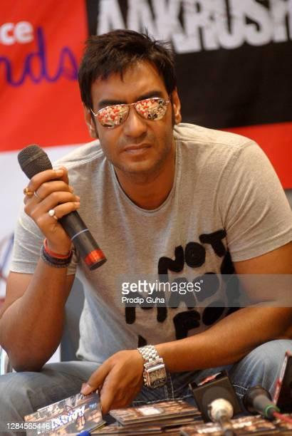 Ajay Devgan attends the film promotion 'AKROSH' on October 07, 2010 in Mumbai, India
