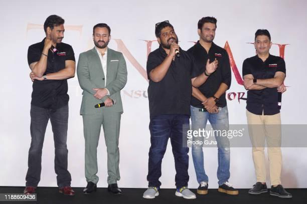 "Ajay Devgan, Saif Ali Khan, Om Raut, Sarat Kelkar and Bhushan Kumar attend the trailer launch of ""Tanhaji The Unsung Warrior"" on November 19, 2019 in..."