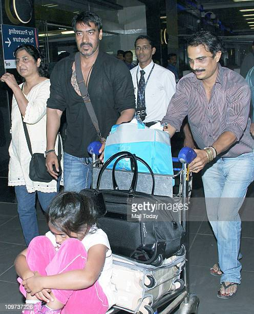 Ajay Devgan with his daughter at Mumbai International Airport
