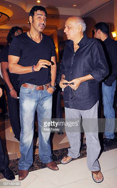 Ajay Devgan with Mahesh Bhatt at the 100 day celebration party of the film Once Upon A Time In Mumbai on November 24 2010