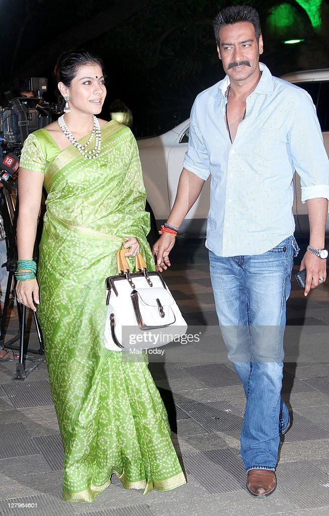 Ajay Devgan with wife Kajol at Sanjay Dutt`s Mata Ki Chowki in Bandra on Monday 3rd October 2011