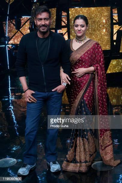 Ajay Devgn and kajol attend the Tanhaji film photocall at Indian Idol set on December 22 2019 in Mumbai India