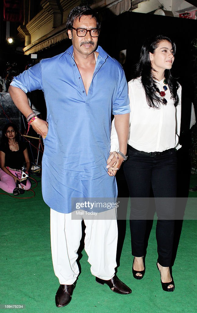 Ajay Devgn with wife Kajol during the opening of Suniel Shetty store R House in Worli Mumbai on January 12 2013