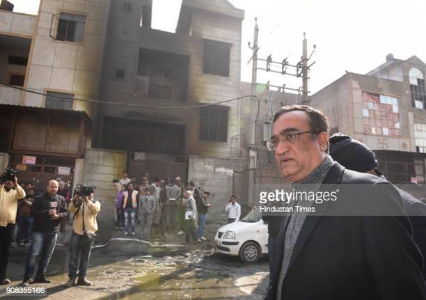Ajay Maken Congress President of Delhi pradesh visited Fire crackers factory where massive fire broke last night at Bawana on January 21 2018 in New...