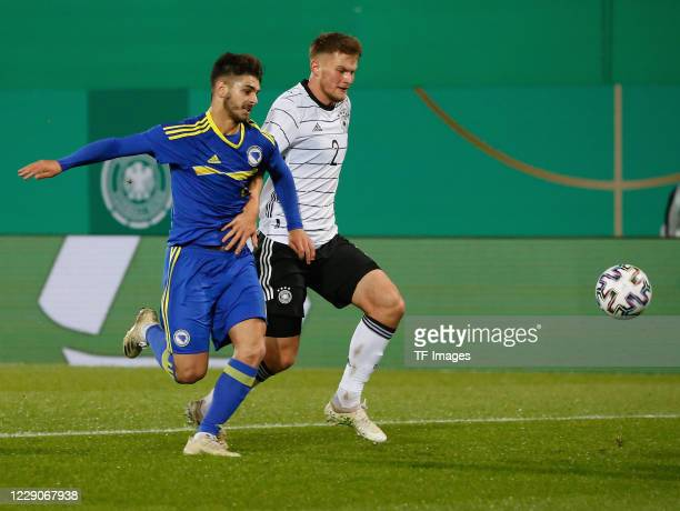 Ajdin Hasic of Bosnien-Herzegowina and Lars Lukas Mai of Germany during the UEFA Euro Under 21 Qualifier match between Germany U21 and...