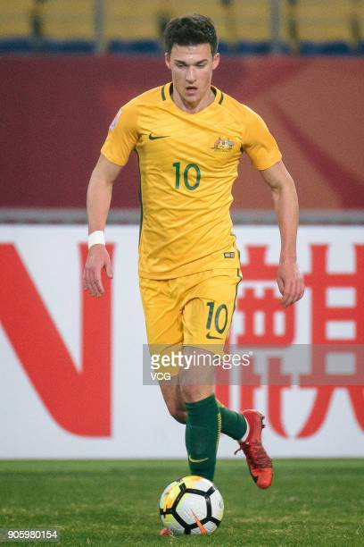 Ajdin Hrustic of Australia drives the ball during the AFC U23 Championship Group D match between South Korea and Australia at Kunshan Sports Centre...