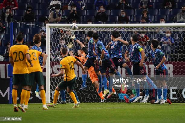 Ajdin Hrustic of Australia scores his side's first goal from a free kick during the FIFA World Cup Asian qualifier final round Group B match between...