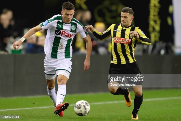 Ajdin Hrustic of FC Groningen Bryan Linssen of Vitesse during the Dutch Eredivisie match between Vitesse v FC Groningen at the GelreDome on February...