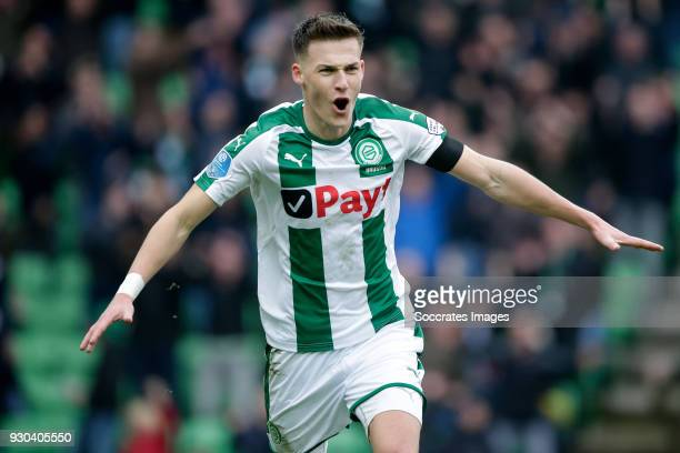 Ajdin Hrustic of FC Groningen celebrates 20 during the Dutch Eredivisie match between FC Groningen v PEC Zwolle at the NoordLease Stadium on March 11...