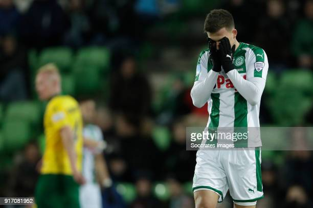 Ajdin Hrustic of FC Groningen during the Dutch Eredivisie match between FC Groningen v ADO Den Haag at the NoordLease Stadium on February 11 2018 in...