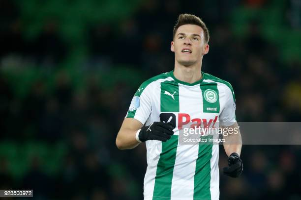 Ajdin Hrustic of FC Groningen during the Dutch Eredivisie match between FC Groningen v NAC Breda at the NoordLease Stadium on February 23 2018 in...