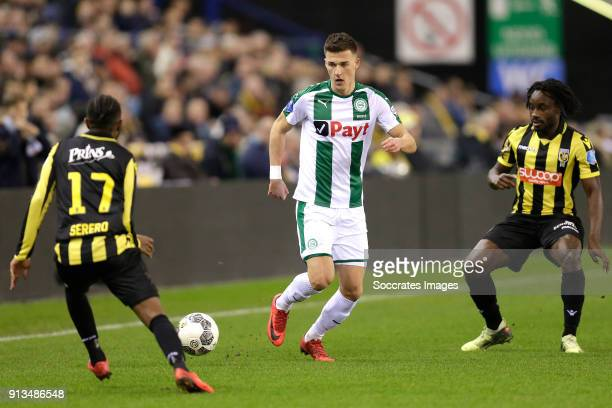 Ajdin Hrustic of FC Groningen Fankaty Dabo of Vitesse during the Dutch Eredivisie match between Vitesse v FC Groningen at the GelreDome on February 2...