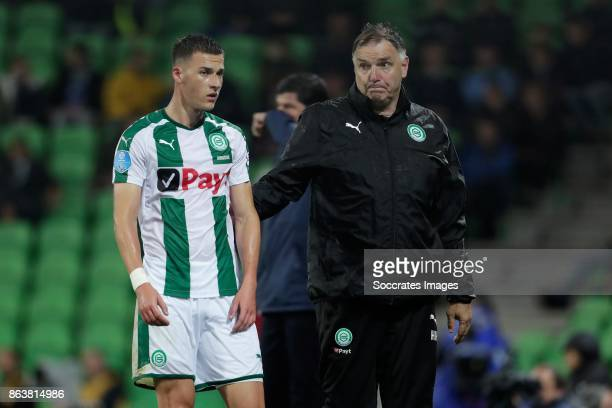 Ajdin Hrustic of FC Groningen is leaving the pitch after receiving a red card during the Dutch Eredivisie match between FC Groningen v Willem II at...