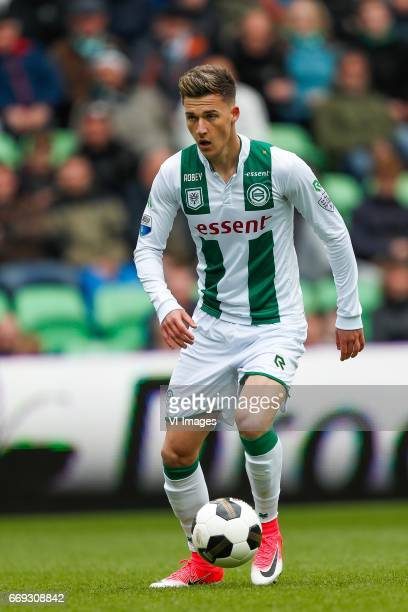 Ajdin Hrustic of FC Groningenduring the Dutch Eredivisie match between FC Groningen and PEC Zwolle at Noordlease stadium on April 16 2017 in...
