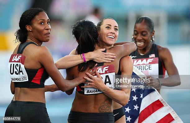 Ajee Wilson Brenda Martinez Geena Lara and Chanelle Price of the United States celebrate after winning the Women's 4x800 metres relay final during...