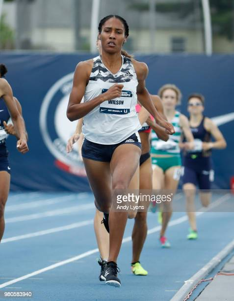 Ajee' Wilson competes in the opening round of the Women 800 Meter Run at the 2018 USATF Outdoor Championships at Drake Stadium on June 21 2018 in Des...