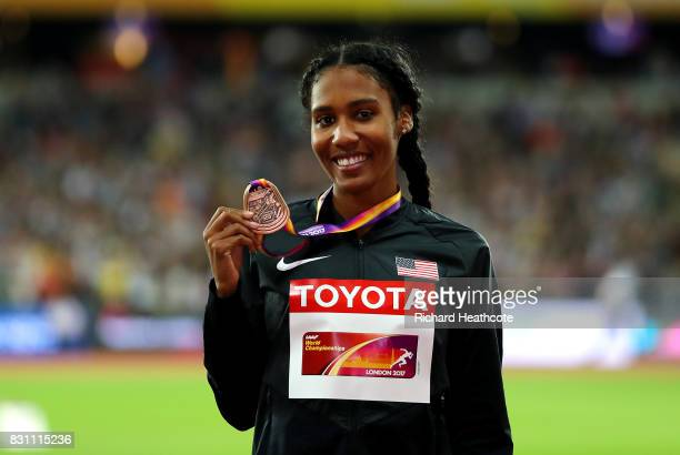 Ajee Wilson of the United States bronze poses with her medal for the Womens 800 metres during day ten of the 16th IAAF World Athletics Championships...