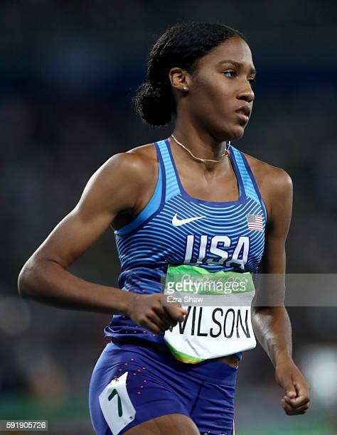 Ajee Wilson of the United States competes during the Women's 800m Semifinals on Day 13 of the Rio 2016 Olympic Games at the Olympic Stadium on August...