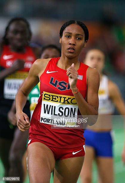 Ajee Wilson of the United States competes in the Women's 800 Metres Heats during day three of the IAAF World Indoor Championships at Oregon...