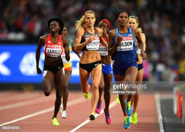 Ajee Wilson of the United States Melissa Bishop of Canada and Noelie Yarigo of Benin compete in the Women's 800 metres semi finals during day eight...