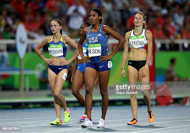 Ajee Wilson of the United States reacts after competing in the Women's 800m Semifinals on Day 13 of the Rio 2016 Olympic Games at the Olympic Stadium...